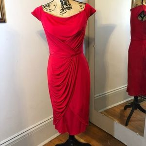 Tadashi Collection Red Drape Front Sheath Dress